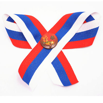 Set pin badge «We remember! and order of Glory» on textil russian tricolor ribbon