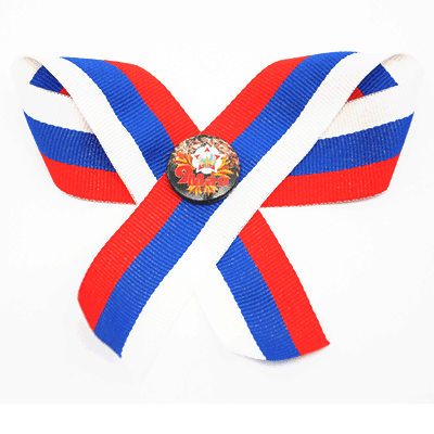 Set pin badge «9th May! and order of Victory» on textil russian tricolor ribbon