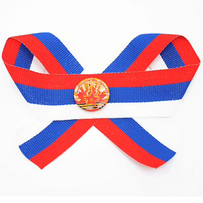 Set pin badge «My pomnim! My gordimsja!» on textil russian tricolor ribbon