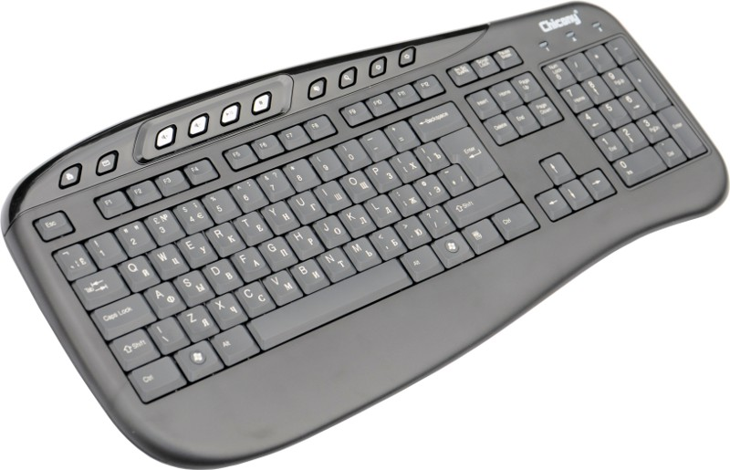 High quality English-Russian multimedia USB keyboard, Black color
