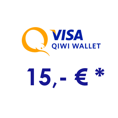 Refill electronic QIWI-WALLET with 15,- € in RUS Rubles