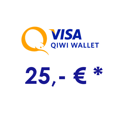 Refill electronic QIWI-WALLET with 25,- € in RUS Rubles
