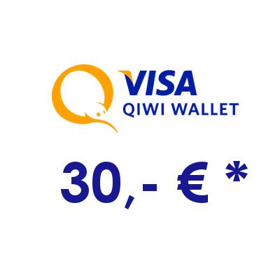 Refill electronic QIWI-WALLET with 30,- € in RUS Rubles