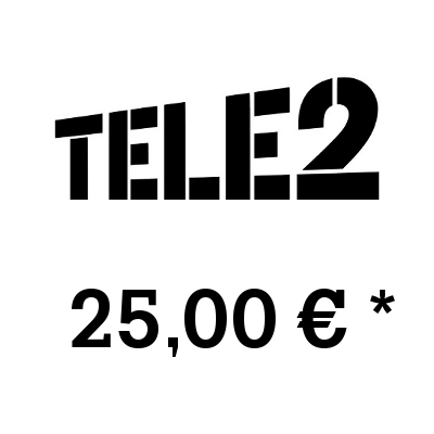 Top up balance of TELE2 - Russia SIM - Card with 25,00 EUR