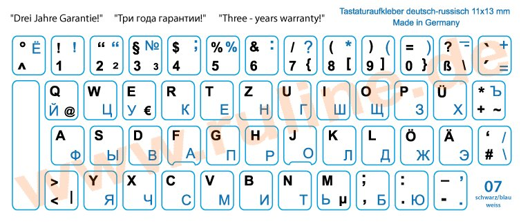 Laminated keyboard-Stickers with German/Russian letters, Blue on White