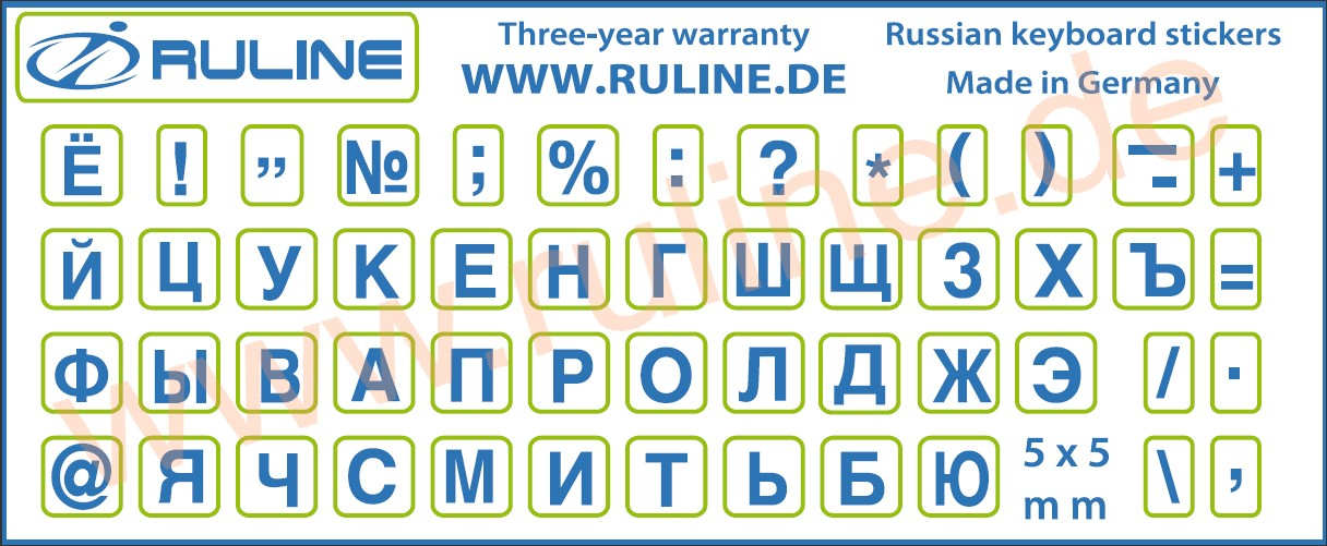 Laminated Mini-stickers with russian Letters blue transparent