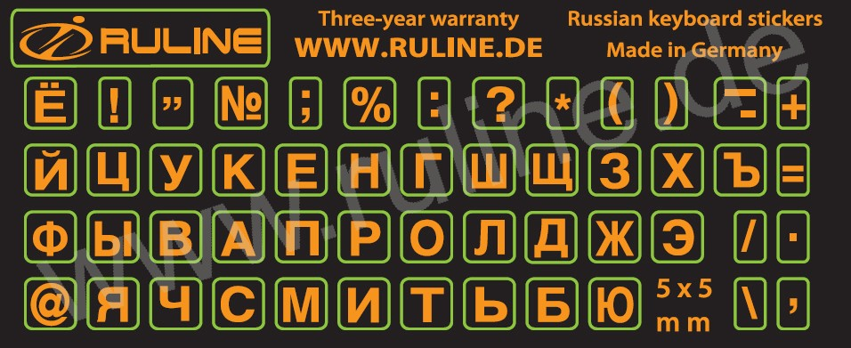 Mini Stickers with Russian letters for Apple / Macintosh - keyboards in orange on a black background, with laminate protection