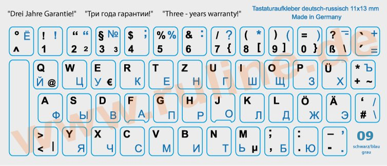 Keyboard-Stickers with Russian and German letters for all PCs with laminate protection in Blue-Black on Gray