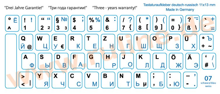 Keyboard-Stickers with Russian and German letters for all PCs with laminate protection in Blue-Black on White