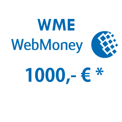 Refill electronic wallet (WME) WebMoney with 1000,- €
