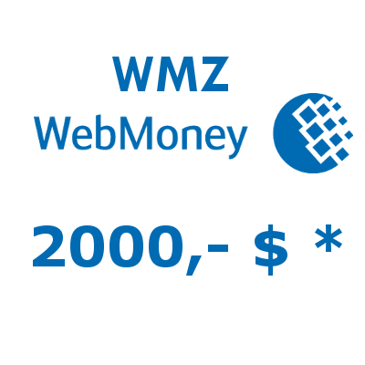 Refill electronic wallet (WMZ) WebMoney with 2000,- WMZ (USD) in EUR