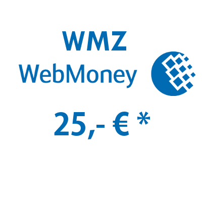 Refill electronic wallet (WMZ) WebMoney with 25,- € in USD