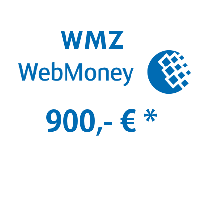 Refill electronic wallet (WMZ) WebMoney with 900,- € in USD