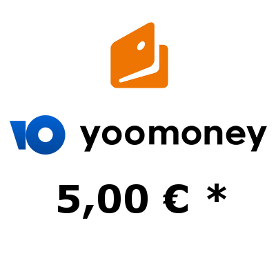 Refill electronic wallet «YooMoney» with 5,- €